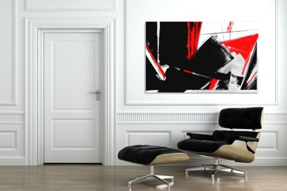 tableau abstrait rouge et noir coup peinture design