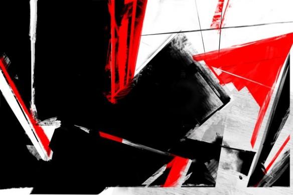 tableau grand format peinture rouge noir pinceau