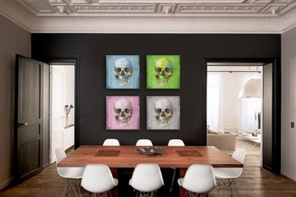 Tableaux modernes crânes humain colorés
