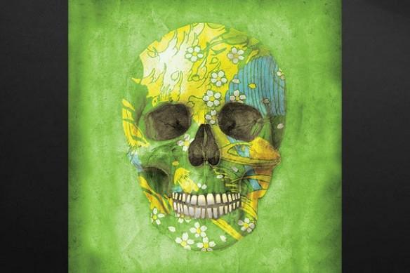 Déco moderne crâne humain vert