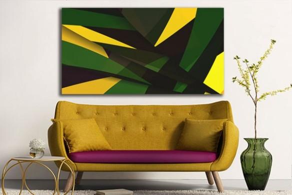 Tableau design vert et jaune