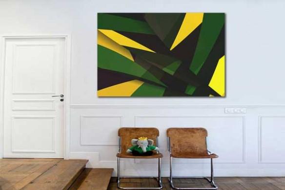 Déco moderne tableau abstrait vert et jaune