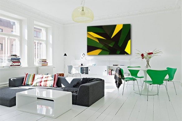 Décoration salon toile abstraite jaune et vert
