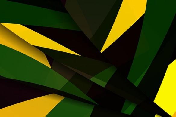Toile déco abstraite jaune et vert