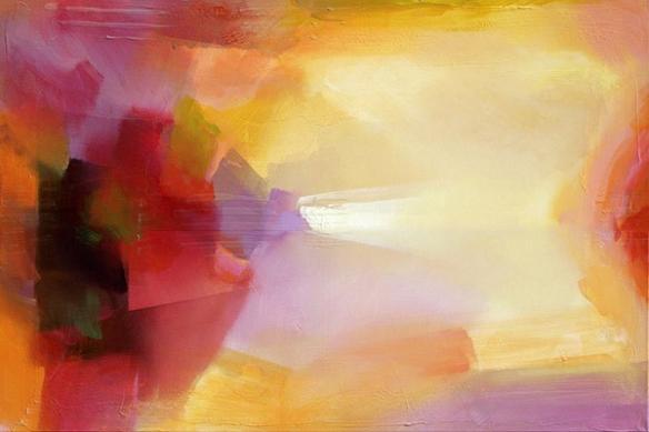 Tableau design orange effet peinture