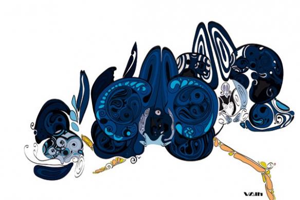 Déco murale fleur abstraite bleu
