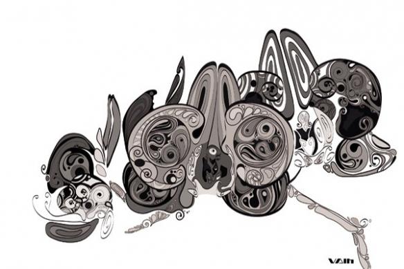 Tableau déco fleur design gris