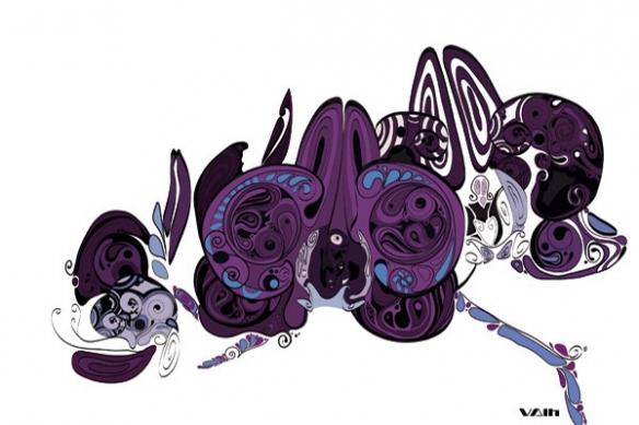 décoration salon tableau fleur original violet