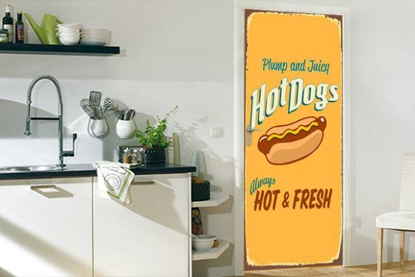 adhésif porte cuisine Hot Dog