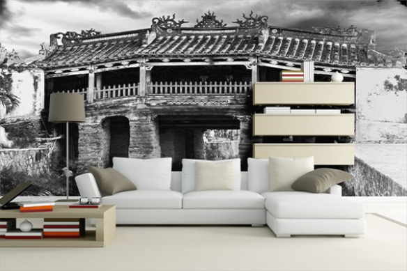 Décoration poster mural Pont de Chine noir et blanc