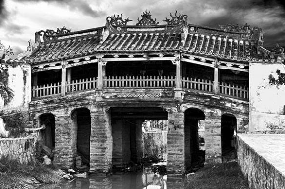 Déco mur poster photo pont de chine noir et blanc