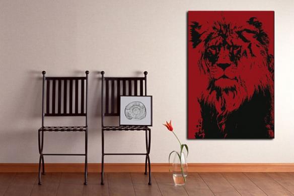 Tableau déco Lion rouge
