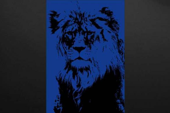 toile lion bleu foncé