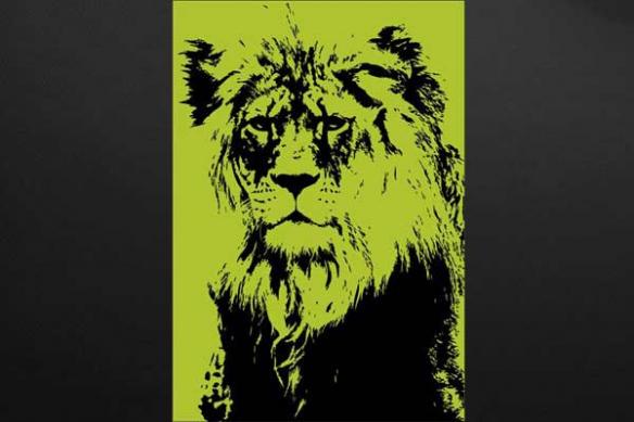 tableau décoration lion couleur vert