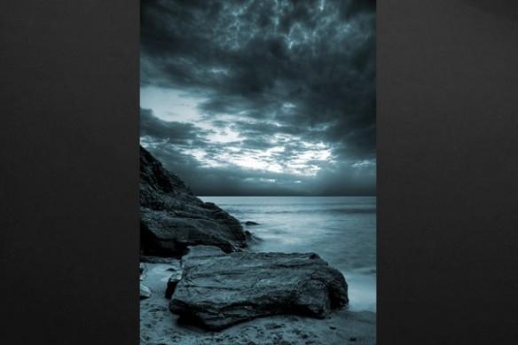 toile déco moderne mer et rochers