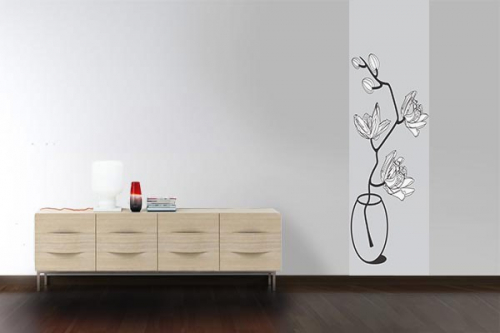 papier peint graphique Fleur gris