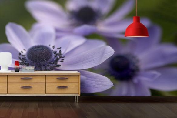 Papier peint déco Fleurs Champêtres violettes