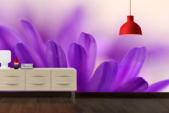 Papier Peint deco chambre Fleurs violettes