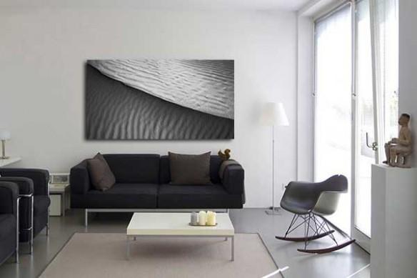 Toile imprimée desert de Kalahari noir et blanc