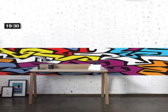 Papier peint graphique abstrait coloré Bazar