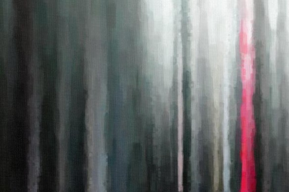 Tableau abstrait design Palissade rose gris