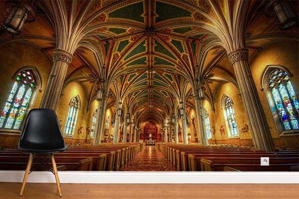 Papier peint trompe l 39 oeil murale cathedrale izoa Poster mural trompe oeil