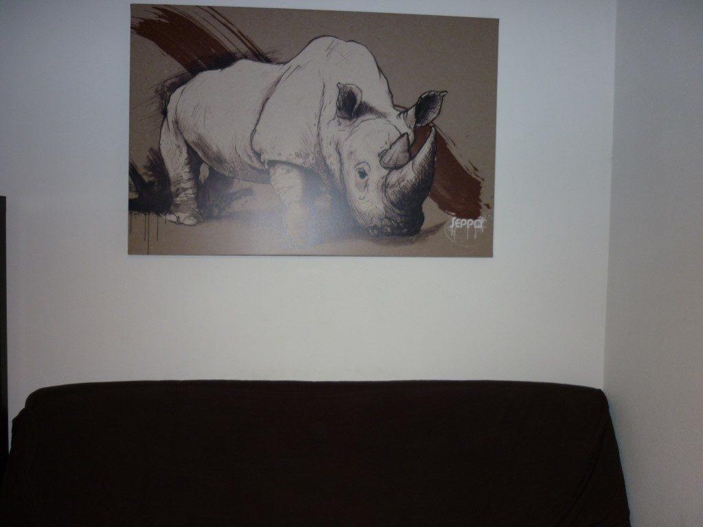 déco murale salon rhinoceros izoa