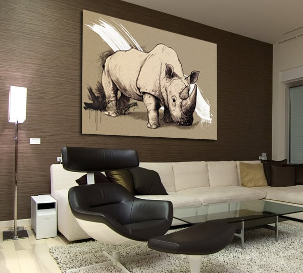 tableau sur toile rhinocéros