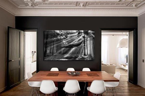 tableau noir et blanc baleine izoa