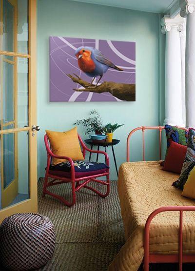 toile imprimée oiseau salomon izoa