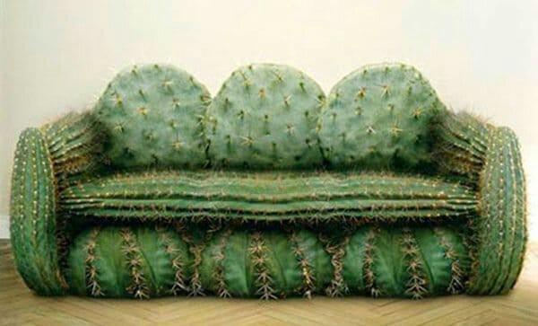 Canapé trompe l'oeil cactus