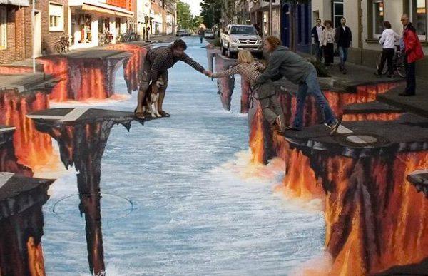 Street art trompe l'oeil