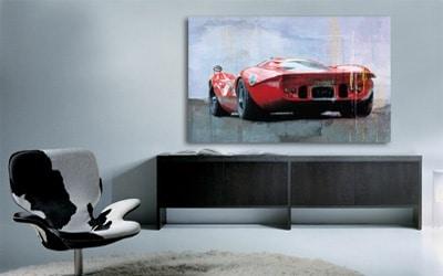 tableau design deco voiture rouge de collection