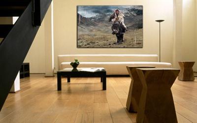 tableau moderne chasseur aigle
