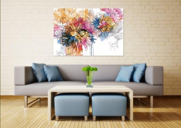 Toile déco fleur aquarelle