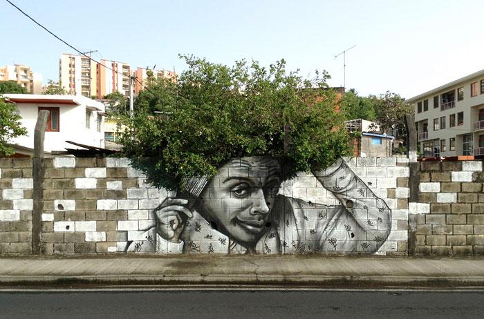 Street art trompe l'oeil arbre cheveux