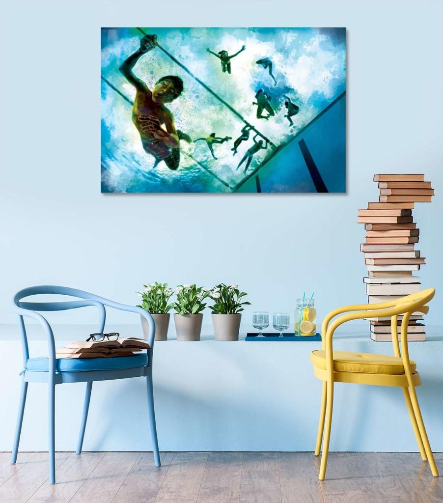 tableau bleu contemporain