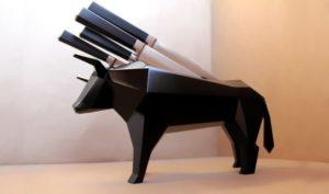 Range couteaux taureau noir