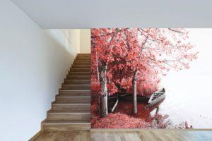Papier peint zen barque fleurie