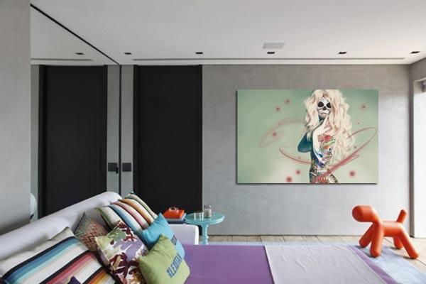 tableau moderne chambre skullgirl izoa