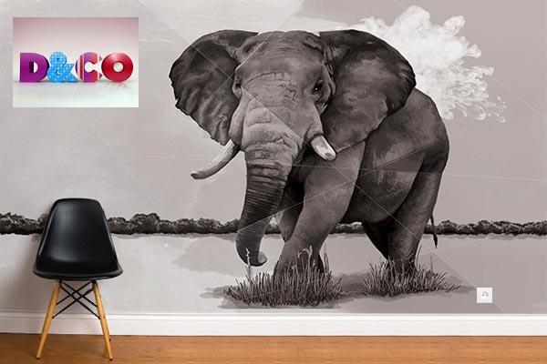 papier peint elephants savane Izoa