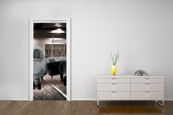sticker porte trompe l 39 oeil avion de chasse. Black Bedroom Furniture Sets. Home Design Ideas