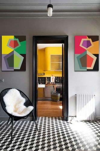 Tableau déco Izoa abstrait pour mur gris