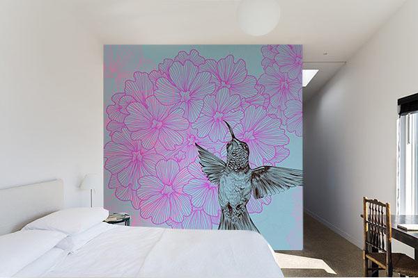 Papier peint décoration chambre fleur de verveine