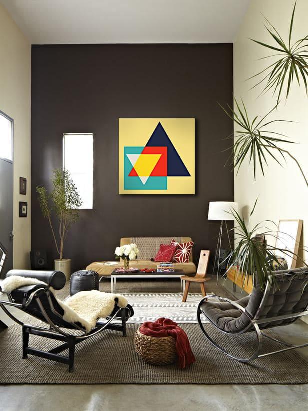 déco salon design toile géométrique