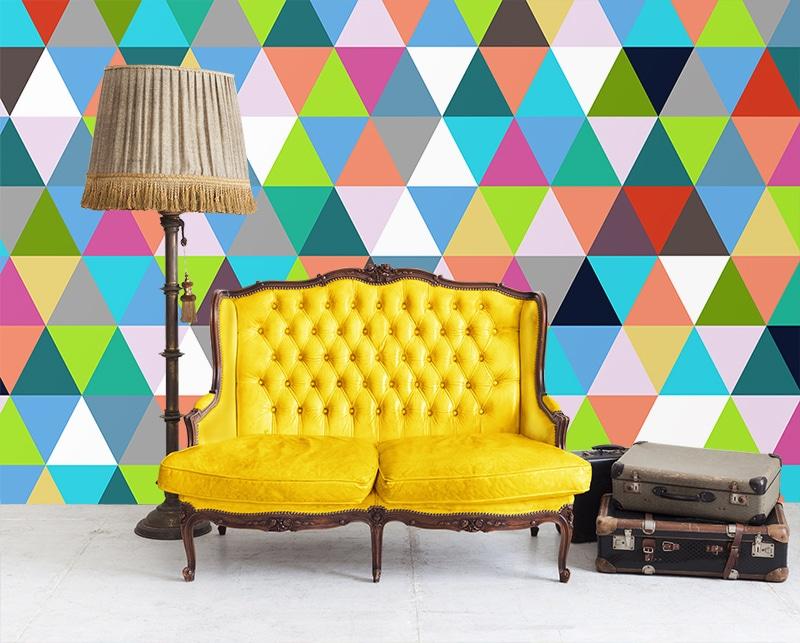 déco salon vintage poster mural géométrique
