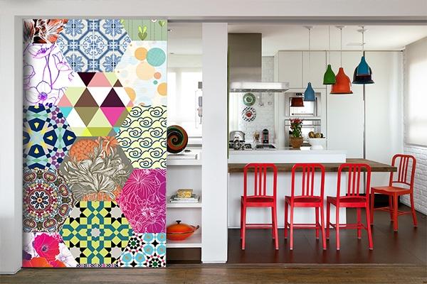 papier peint patchwork assemblage coloré