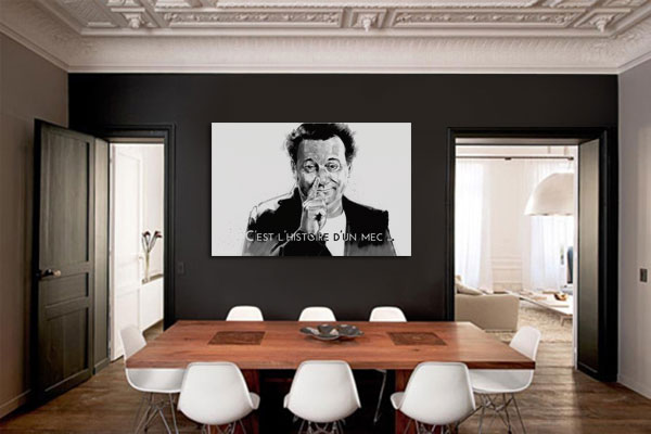 retour sur le tableau grand format coluche. Black Bedroom Furniture Sets. Home Design Ideas