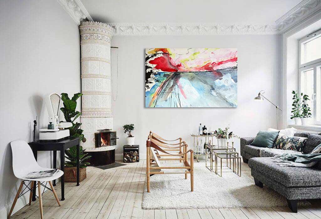 Tableau abstrait effet peinture