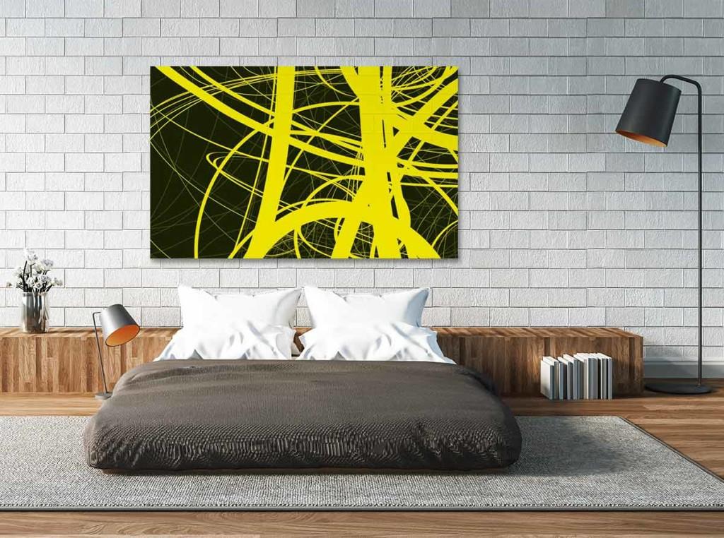 Tableau contemporain abstrait jaune
